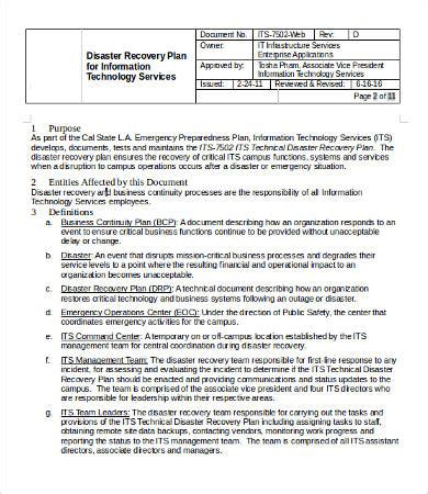 emergency plan template for businesses it disaster recovery plan template 9 free word pdf