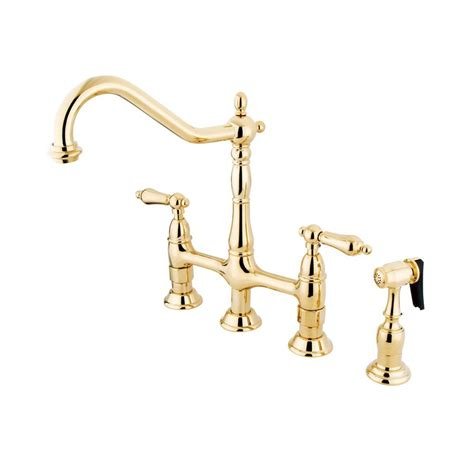polished brass kitchen faucet shop elements of design polished brass 2 handle deck mount bar and prep kitchen faucet at lowes