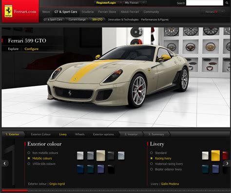 Ferrari Configurator by New Ferrari 599 Gto Configurator Released Carscoops