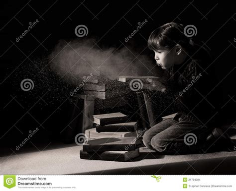 dust picture book child discovering books in attic stock images