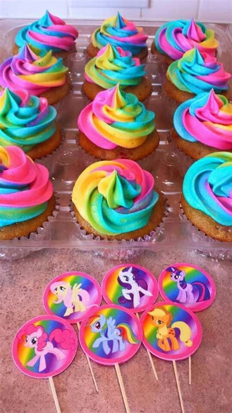 Tye Dye frosting  Rainbow  My Little Pony Birthday party  Strawberry Vanilla Cupcakes   My