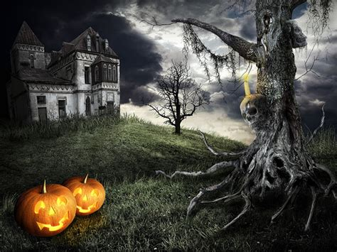 halloween day themes happy halloween theme mystical tree on the background of