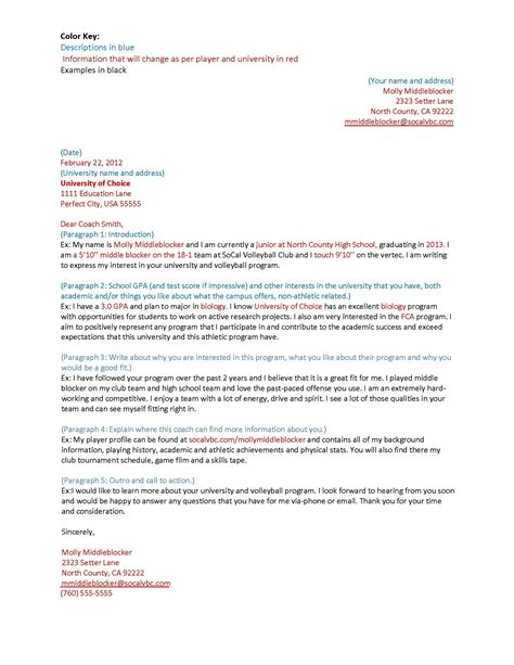 Coach Cover Letter Sle Letter To College Coaches For Recruiting World Of Exles