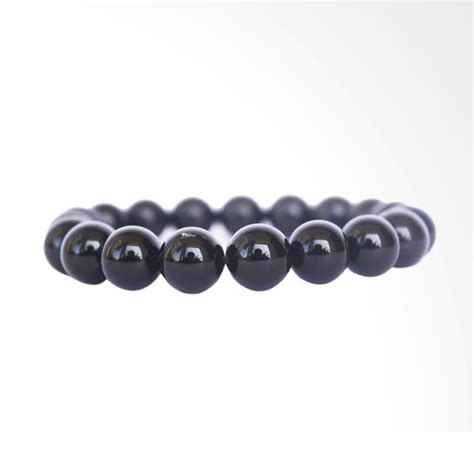 Gelang Batu Asli Black Onyx 6mm Gelang Black Onyx harga spesifikasi 100 needle black jade 12cm bead bangle bracelet intl