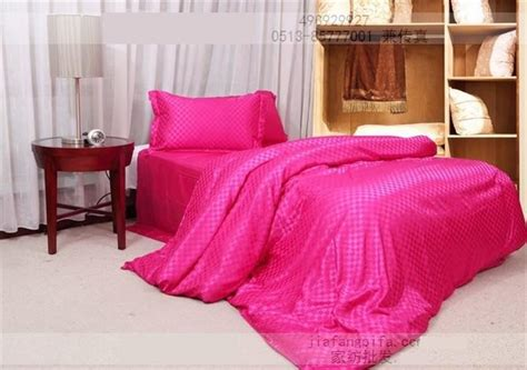 Silk Hot Pink Plaid Comforter Bedding Set King Size Queen