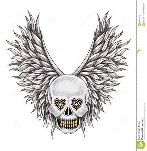 angel skull tattoo designs skull wings stock illustration