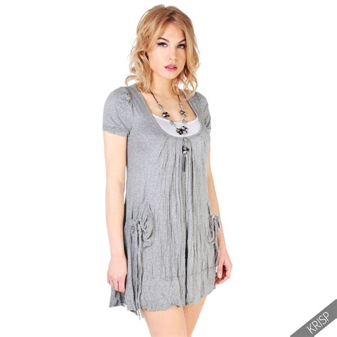 Set 3in1 Oversize Damen 3in1 Set Tunika Kleid Mit Top Und Halskette Mini