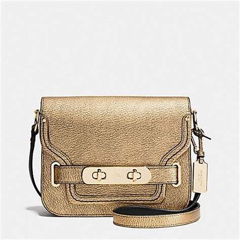 Coach Swagger In Metallic Pebble Leather 2016 coach f35995 coach swagger small shoulder bag in metallic pebble leather light gold gold