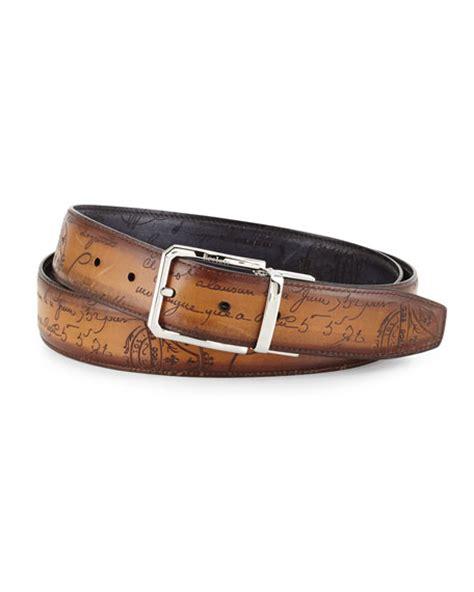 berluti reversible scripto leather belt black brown