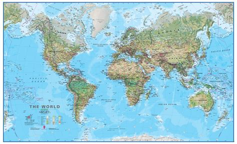 wold map physical map of the world laminated wall map