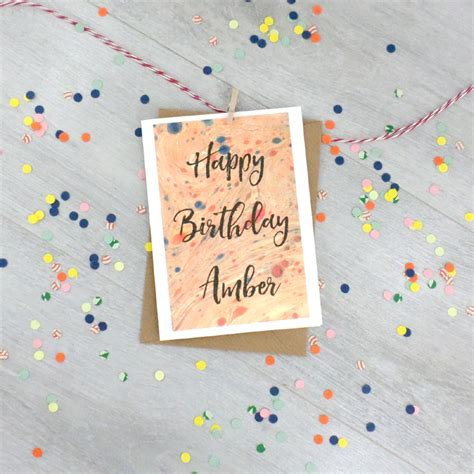Personalised Birthday Cards With Photo Upload Marbled Paper Card Personalised Birthday Card By Six0six