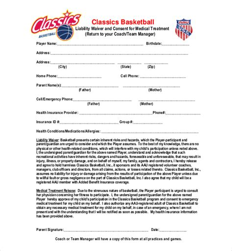Release Letter For Player sle liability release form exle of independent contractor liability waiver form sle