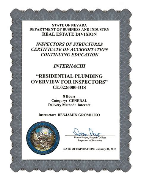 Plumbing Certification by How To Become A Certified Home Inspector In Nevada Internachi