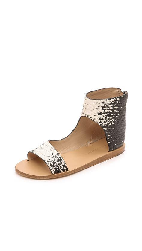 loafer randall loeffler randall pasha sandals blackcream in animal