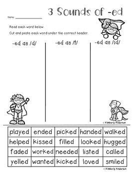 3 sounds of ed worksheet 10 best images about phonics on phonics beginning sounds and gifted