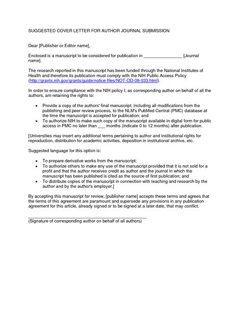cover letter to editor scientific journal sle