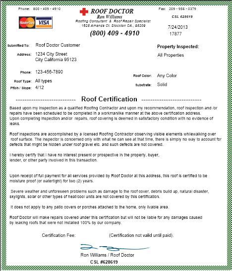 certificate of inspection template best photos of sle roof certification roof inspection