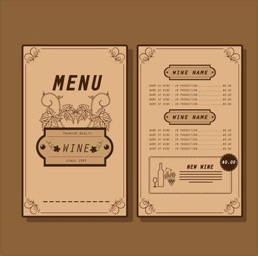 wine menu template free vector background for free about 38 006 vector