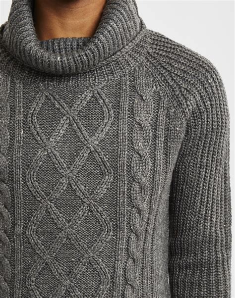 grey knitted jumper mens only sons mens knitted pullover cable knit jumper grey