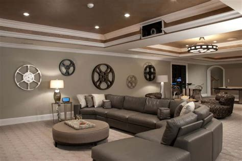 home theater  grey wall color  leather sectional