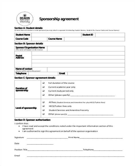 Sponsorship Agreement Letter Template 7 Sponsorship Agreement Form Sles Free Sle