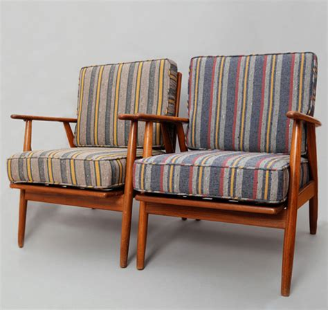home goods armchairs th s co set of 2 danish armchairs with blanket lining stripe cushions hickoree s