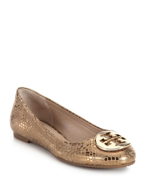 Going Burch Reva Ballet Flats by Burch Reva Metallic Printed Leather Ballet Flats In