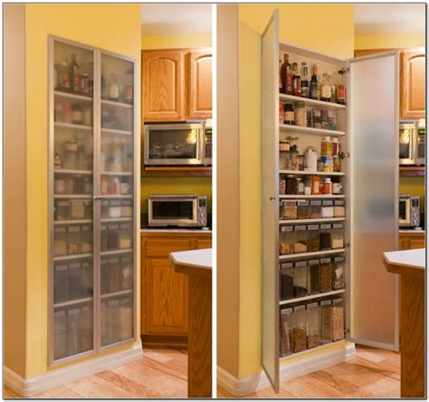 Kitchen Storage Cabinets With Glass Doors Kitchen Recessed Kitchen Pantry Storage Cabinet With Frosted Glass Doors And Plenty