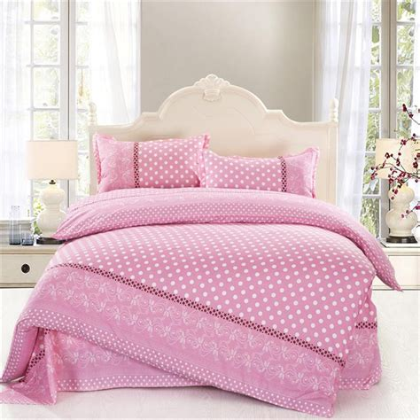 4pcs size white polka dot comforter sets pink
