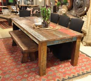 Area Rug Under Dining Table Vintage Multicolor 107 Quot Dining Table Rustic Dining