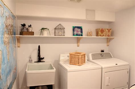basement renovation traditional laundry room boston
