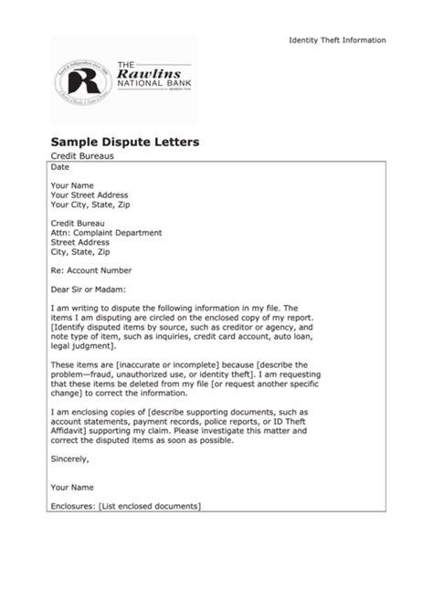 sample dispute letter template credit bureaus printable