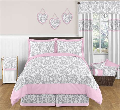 pink and gray bedding sweet jojo designs pink gray damask girls kids teens full