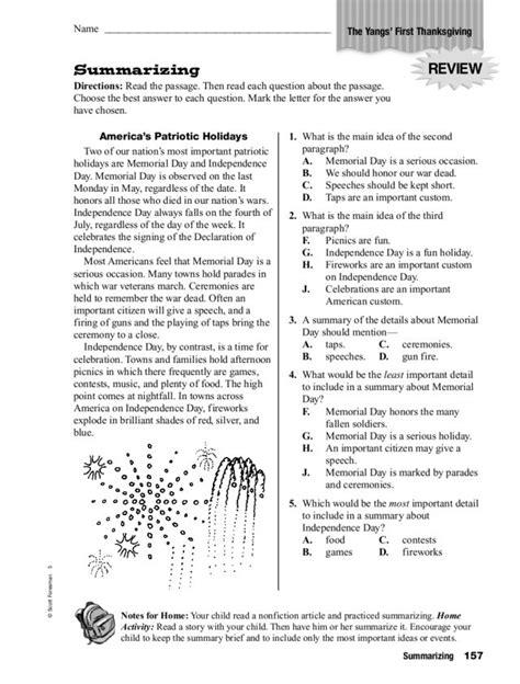 Summary Worksheets by Worksheet Summarizing Worksheets 4th Grade Caytailoc