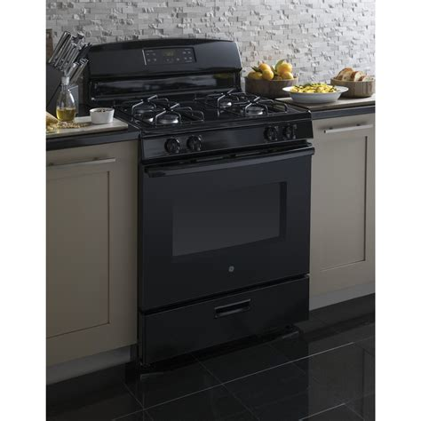 Oven Gas Standard jgbs60dekbb ge 4 8 cu ft standard clean gas range black