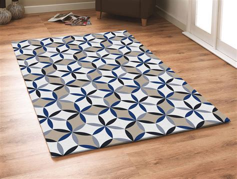 Contemporary Grey With Beige And Blue Outdoor Area Rug And Blue Rug
