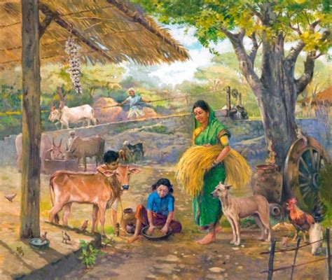 Heritage Home Decor And Design by Indian Village Scene Painting Drawing Illustration