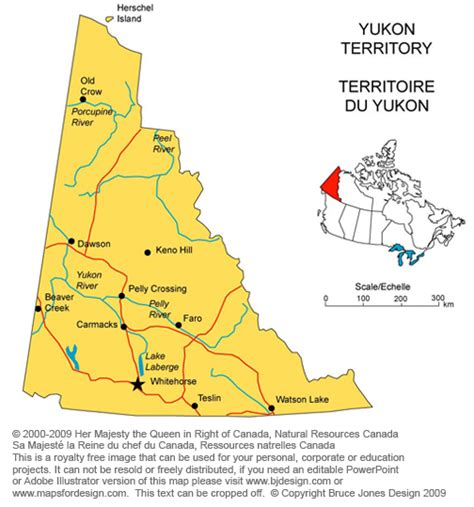printable map of yukon map of yukon territory canada