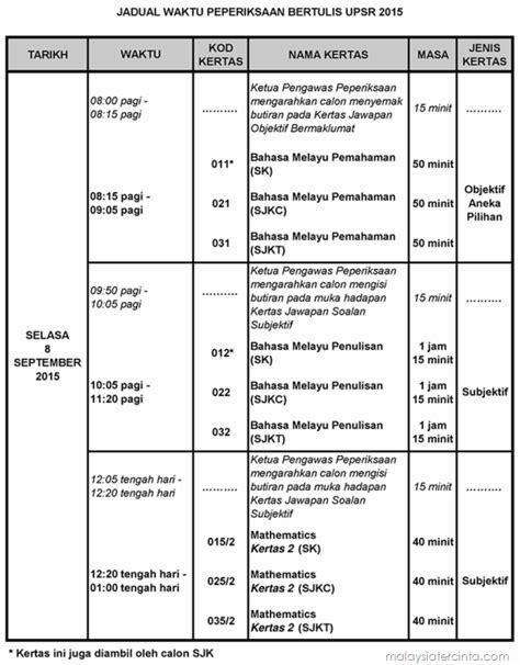 upsr schedule jadual waktu peperiksaan upsr 2017 calon biasa