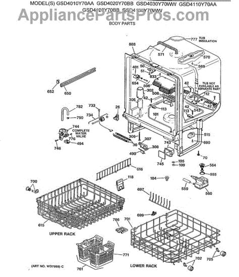 ge profile dishwasher diagram parts for ge gsd4030y70ww parts appliancepartspros