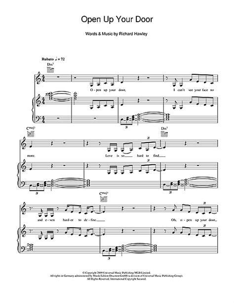 lyrics hawley open up your door sheet by richard hawley piano