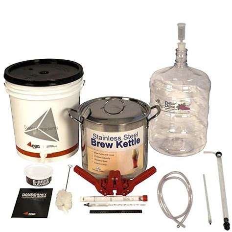 Handcraft Brewing - bsg handcraft gold homebrew kit with pet carboy brew kettle
