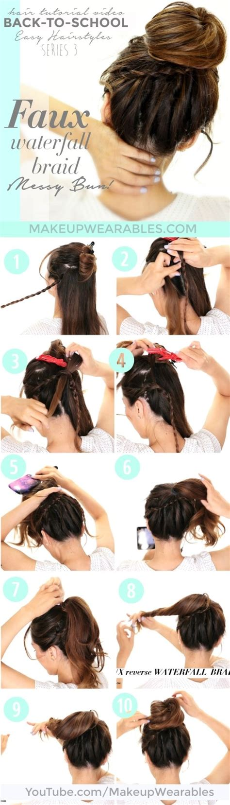 how to waterfall braid step by step how to fake waterfall braid on yourself step by step easy
