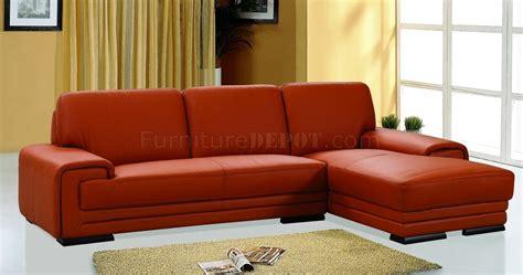 orange leather upholstery stylish sectional sofa