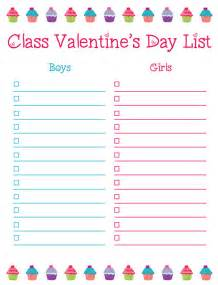class list template 8 best images of s day class list printable