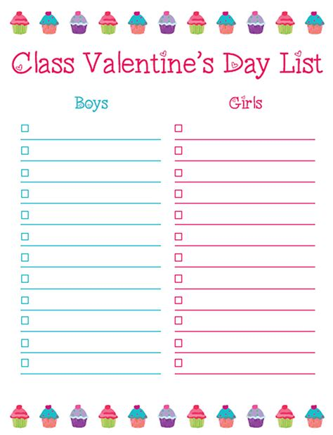 s day list 8 best images of s day class list printable
