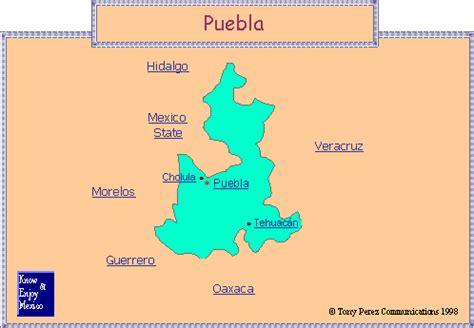 puebla mexico map mexican state of puebla