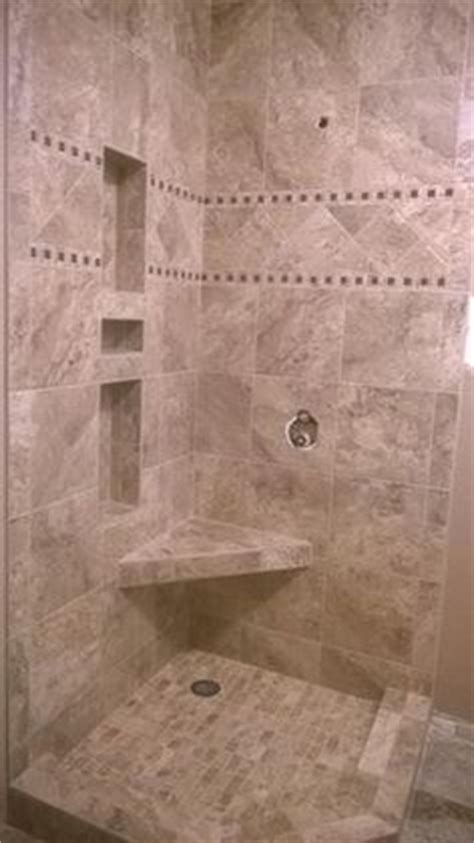 Marazzi Granite Marron 12 In Mikonos Coral Sand Porcelain Tiles Installed In A Shower