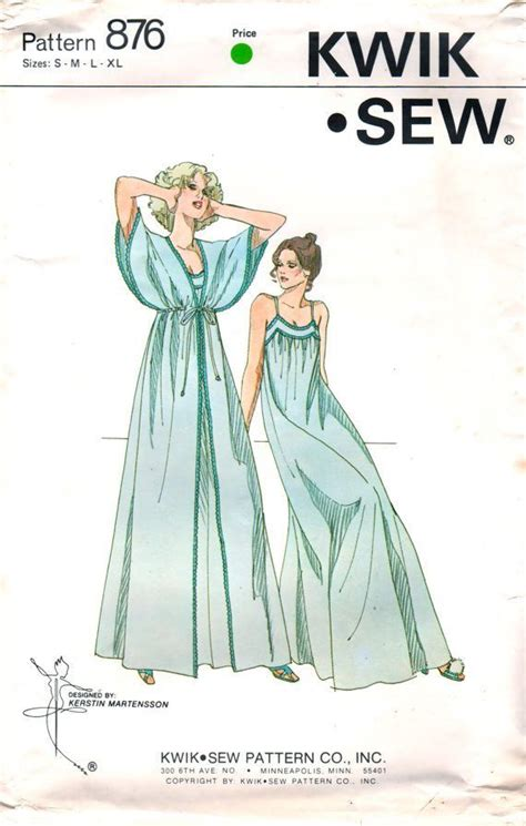Sleep Wear 7028 kwik sew 876 1970s misses kimono sleeve peignoir and nightgown pattern womens vintage sewing