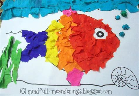 Make Paper Collages - crepe paper collage rainbow fish craft artsy craftsy